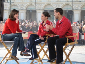 Doing an Interview with Skating Partner Marcy Hinzmann in Torino