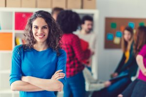 Smiling woman in the office
