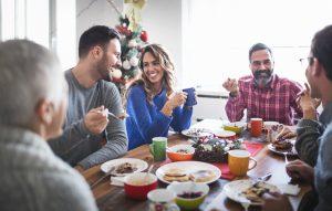 Family having breakfast on Christmas morning.