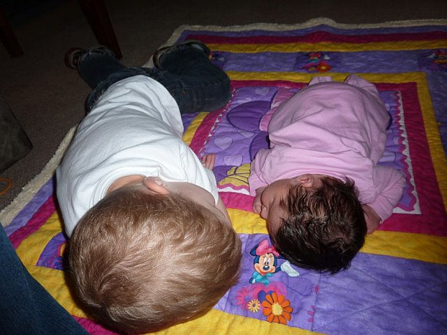 Wyatt and Tenley sleep next to each other.