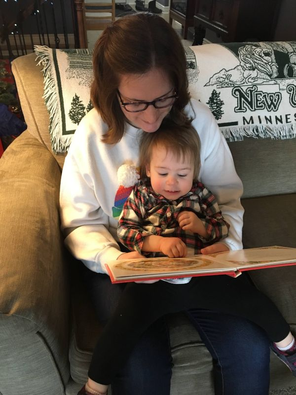 Kari Reading a Christmas Story to Our Niece