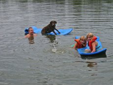Adoptive Family Photo: Bill Swimming with Daisey and His Niece, click to view bigger version