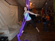 Adoptive Family Photo: Kelly Learning to Climb Silks - Always Up for Trying Something New, click to view bigger version