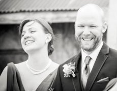 Adoptive Family Photo: Laughing Together at a Friend's Wedding, click to view bigger version
