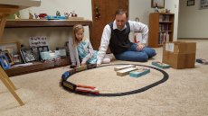Adoptive Family Photo: With One of Will's Model Trains, click to view bigger version