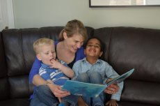 Adoptive Family Photo: We Love Reading Together, click to view bigger version