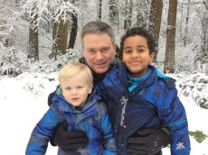 Adoptive Family Photo: Playing in the Snow, click to view bigger version