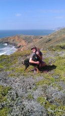 Adoptive Family Photo: Jenny with Our Dog, Luna, on a Hike on the Coast, click to view bigger version