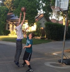 Adoptive Family Photo: Playing Basketball with Our Nephew, click to view bigger version