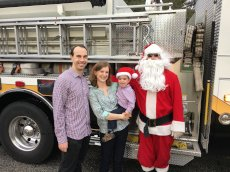 Adoptive Family Photo: Santa Visits Our Neighborhood on a Firetruck Every Christmas!, click to view bigger version