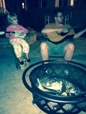 Adoptive Family Photo: Enjoying the Firepit and Playing Music in Our Backyard, click to view bigger version