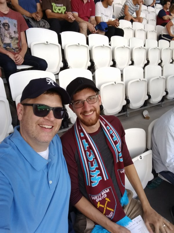 Big Fans Chris & Nephew Dave Cheer for West Ham at a Soccer Match in London