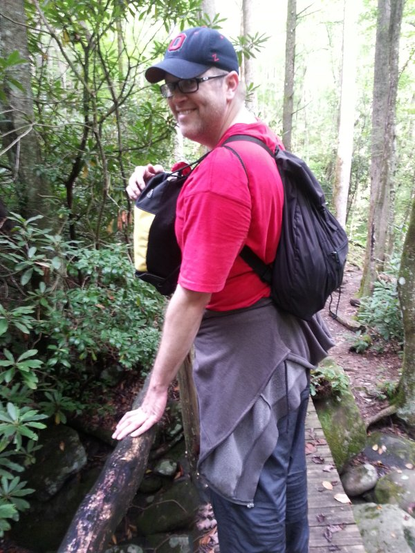 Chris Carries Both Backpacks on the Hiking Trail