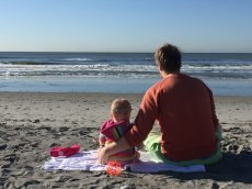 Adoptive Family Photo: Beach Time with Daddy, click to view bigger version