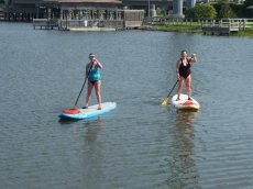 Adoptive Family Photo: Holly & Her Mom Paddleboarding, click to view bigger version