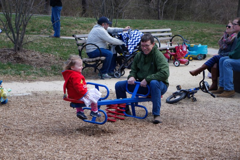 Margaret and Granddaddy Playing at the Park