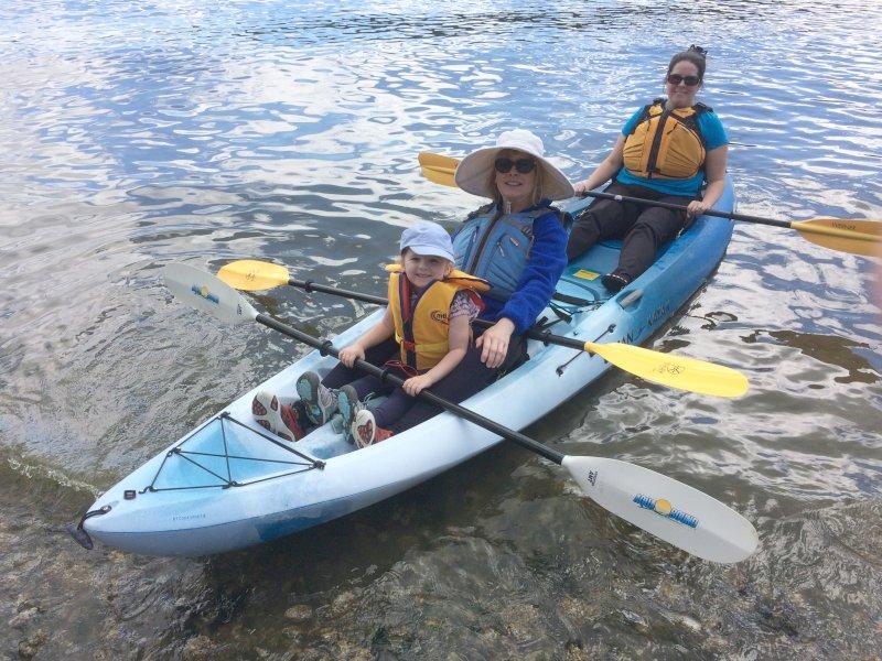 Rachael, Margaret, and Eric's Mom Kayaking