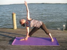 Adoptive Family Photo: Michelle Enjoying Yoga on the Dock, click to view bigger version