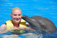 Adoptive Family Photo: Swimming with Dolphins, click to view bigger version
