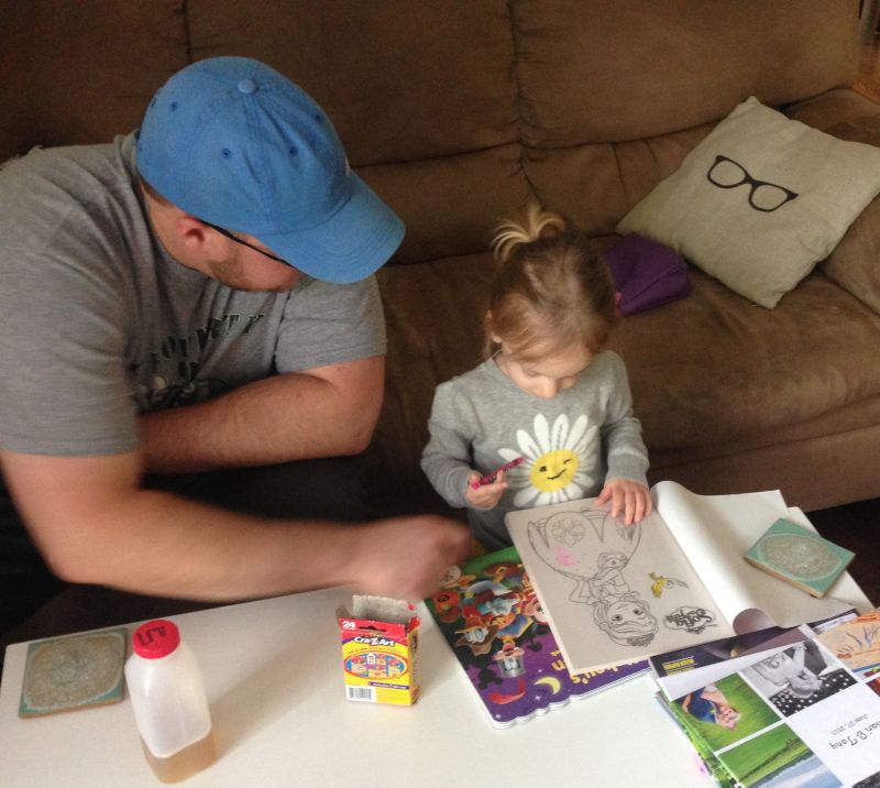 Tony Coloring With a Friend's Daughter