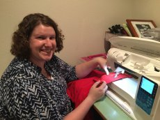 Adoptive Family Photo: Caitlin Sewing Curtains for Our House , click to view bigger version
