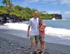 Adoptive Family Photo: Enjoying a Black Sand Beach in Hawaii, click to view bigger version