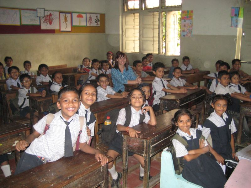 Leigh in a Classroom in India