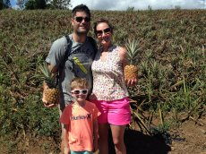 Adoptive Family Photo: Having Fun on a Pineapple Tour in Hawaii