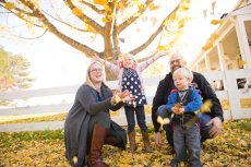 Adoptive Family Photo: The Leaves are so Much Fun to Play In!, click to view bigger version