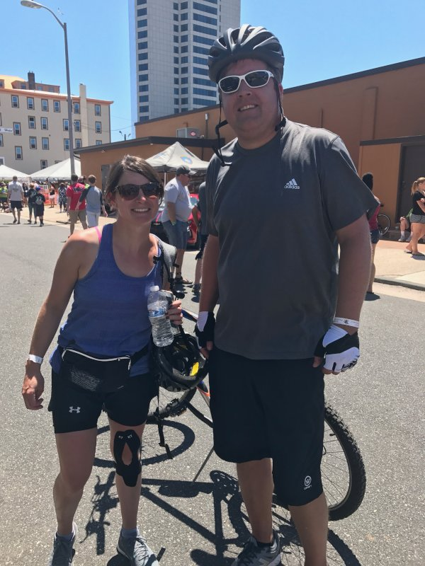 Jessica & Her Brother-in-Law at the Finish Line of the Tour de Shore