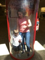 Adoptive Family Photo: Cara & Her Nephew in a Hurricane Machine, click to view bigger version