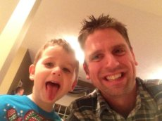 Adoptive Family Photo: Eric & His Nephew Being Silly, click to view bigger version