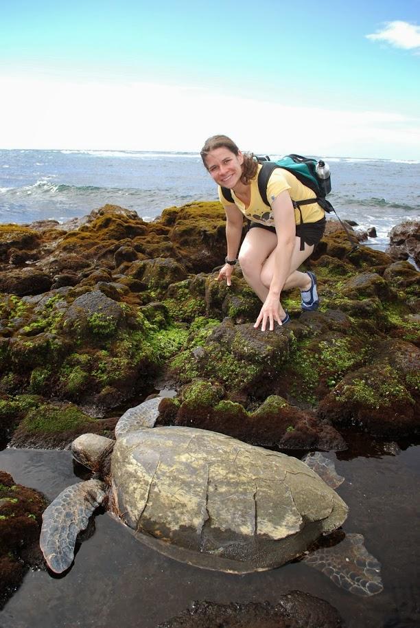 Kim with a Sea Turtle