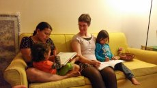 Adoptive Family Photo: Reading & Drawing With a Friend's Children, click to view bigger version