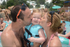 Adoptive Family Photo: Kisses at the Water Park, click to view bigger version