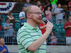 Adoptive Family Photo: Zeb Singing the National Anthem, click to view bigger version