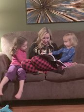 Adoptive Family Photo: Coloring with Our Nieces, click to view bigger version