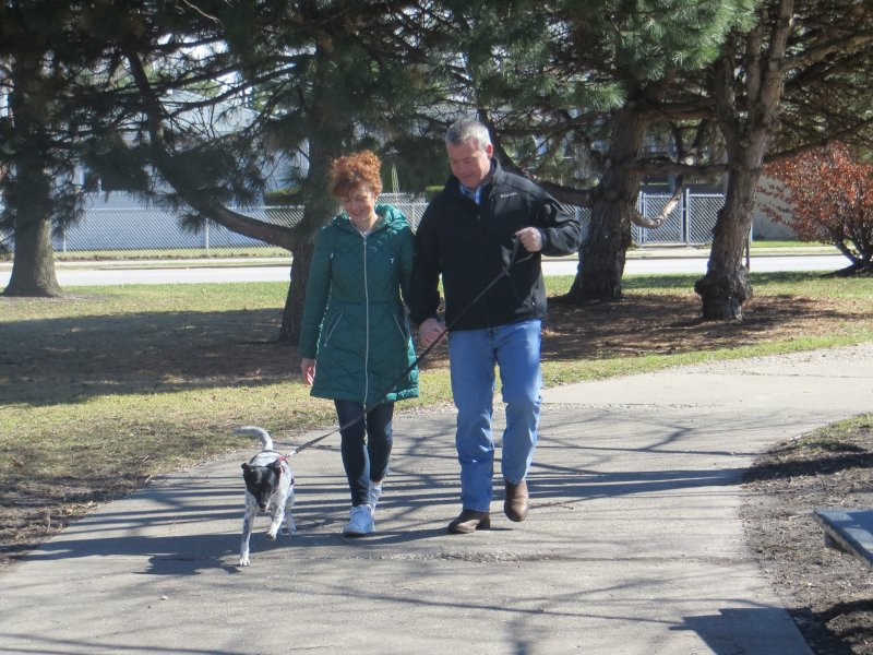 Family Walk with Our Dog, Eli