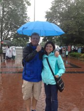 Adoptive Family Photo: Rainy Day Visiting the Statue of Liberty, click to view bigger version