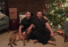 Adoptive Family Photo: Christmas Morning with Roscoe, click to view bigger version