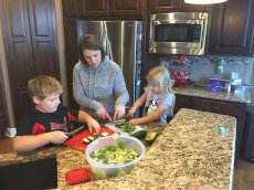 Adoptive Family Photo: Making a Salad Together, click to view bigger version