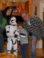 Adoptive Family Photo: Posing with Our Nephew and a Stormtrooper, click to view bigger version