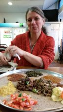 Adoptive Family Photo: Trying Some Ethiopian Foods, click to view bigger version