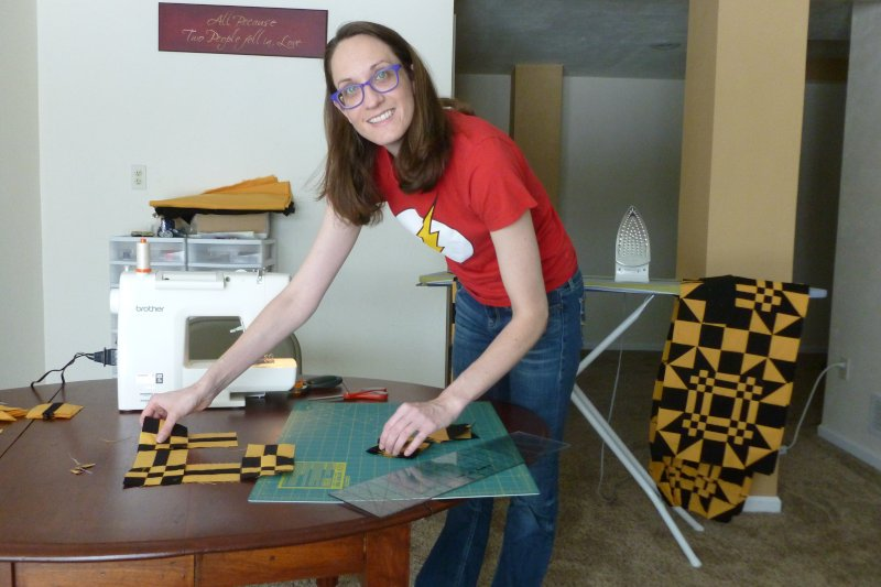 Courtney Working On Her Latest Quilt