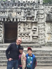 Adoptive Family Photo: Admiring a a Historic Temple in Mexico, click to view bigger version