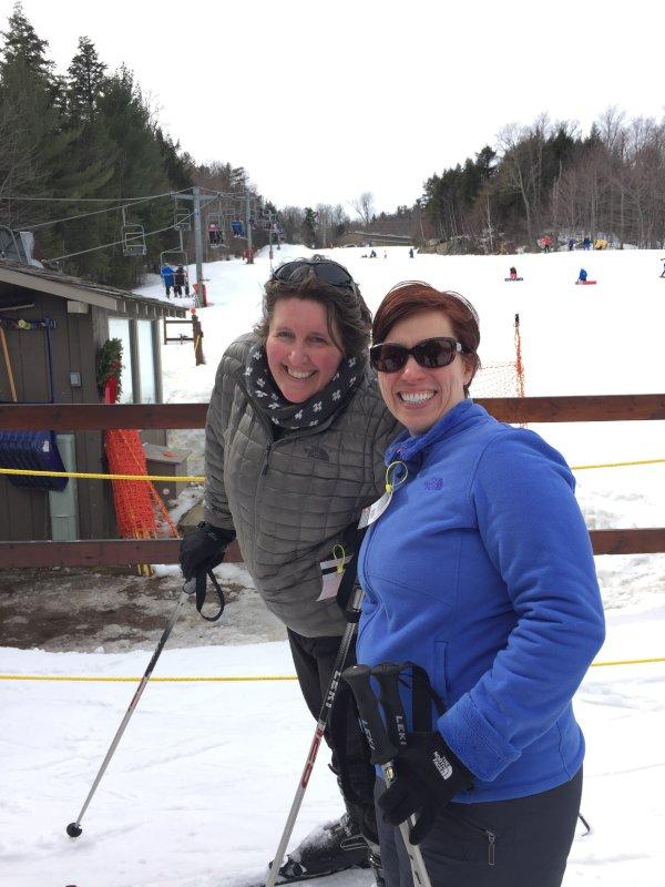 Heather & Elizabeth Skiing Together