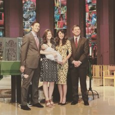 Adoptive Family Photo: Us Becoming Godparents to Our Good Friend's Daughter, click to view bigger version