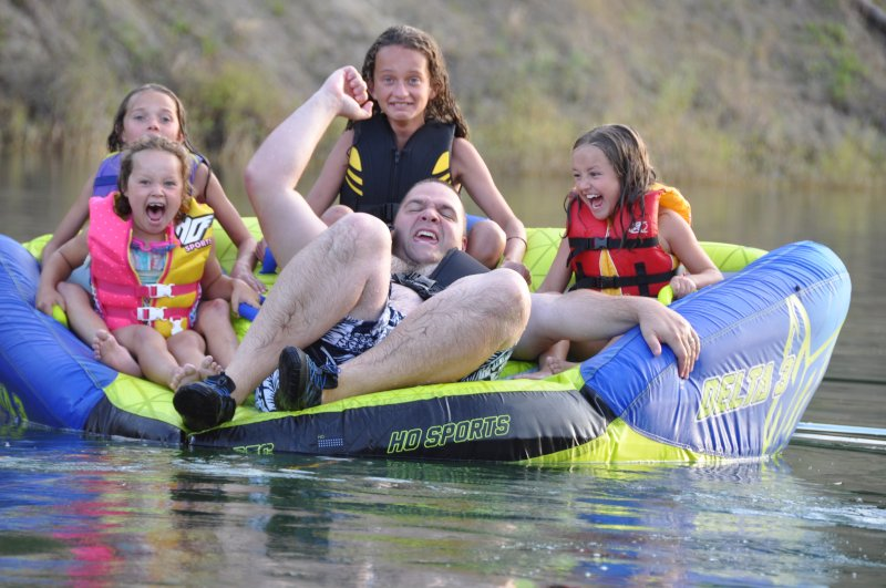 Ben Tubing with Family
