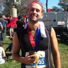 Adoptive Family Photo: Mike After Completing His 7th Marathon, click to view bigger version