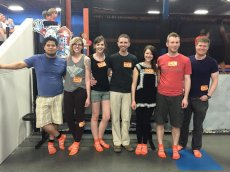 Adoptive Family Photo: Trampoline Park with Friends
